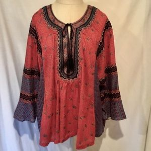 Free People Boho Embroidered Peasant Blouse Large